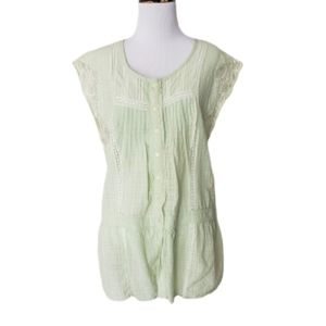 Free People Lace Button Down Babydoll Blouse